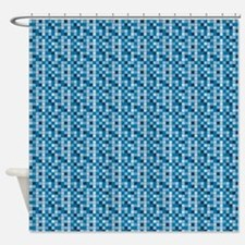 Blue Micro Tile Shower Curtain