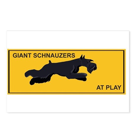 Postcards,8, giant schnauzers at play