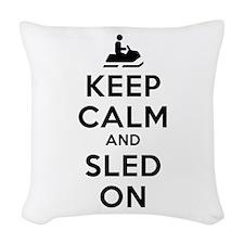 Keep Calm Sled On Woven Throw Pillow