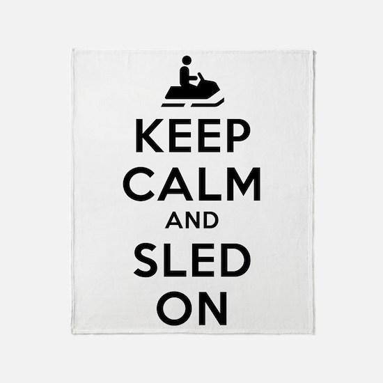 Keep Calm Sled On Throw Blanket