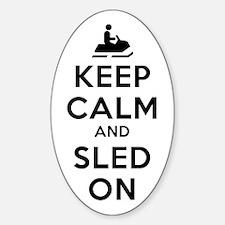 Keep Calm Sled On Sticker (Oval)