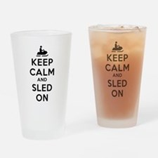 Keep Calm Sled On Drinking Glass