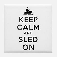 Keep Calm Sled On Tile Coaster