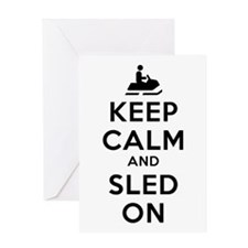 Keep Calm Sled On Greeting Card