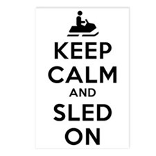 Keep Calm Sled On Postcards (Package of 8)