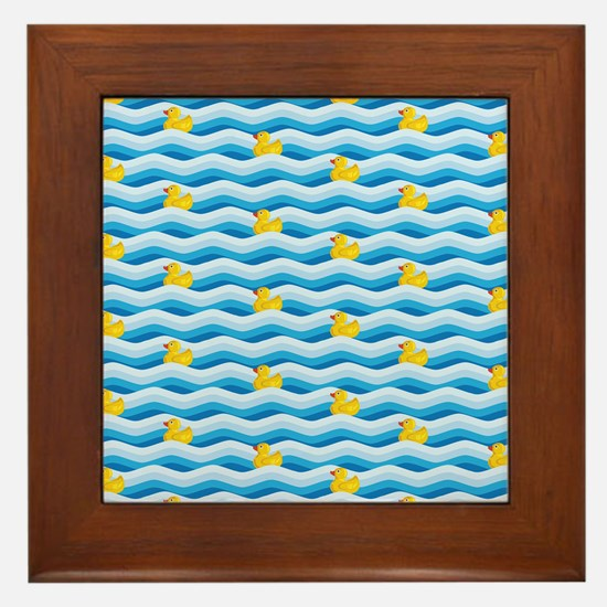 Rubber Ducky Swimming Framed Tile