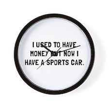 Money Now Sports Car Wall Clock