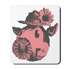 Retro Cartoon Pig in A Pork Pie Straw Ha Mousepad