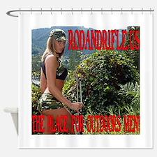 RodandRifle.US Beauty with Rifle Shower Curtain