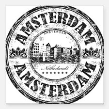 "Amsterdam Seal Square Car Magnet 3"" x 3"""