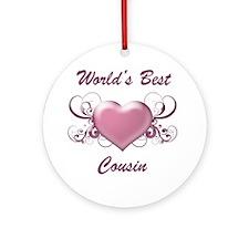 World's Best Cousin (Heart) Ornament (Round)
