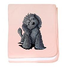 KiniArt Black Doodle Dog baby blanket