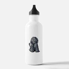KiniArt Black Doodle D Water Bottle