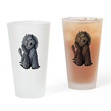 KiniArt Black Doodle Dog Drinking Glass