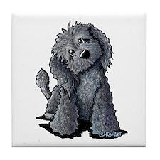 KiniArt Black Doodle Dog Tile Coaster