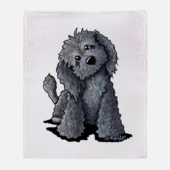 KiniArt Black Doodle Dog Throw Blanket