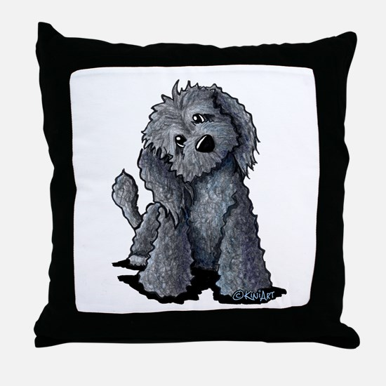 KiniArt Black Doodle Dog Throw Pillow