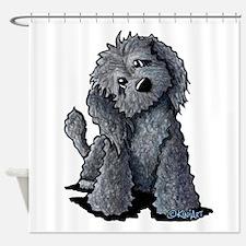 KiniArt Black Doodle Dog Shower Curtain