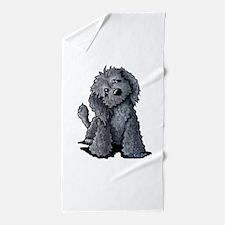 KiniArt Black Doodle Dog Beach Towel
