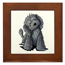 KiniArt Black Doodle Dog Framed Tile