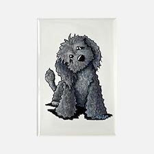 KiniArt Black Doodle Dog Rectangle Magnet