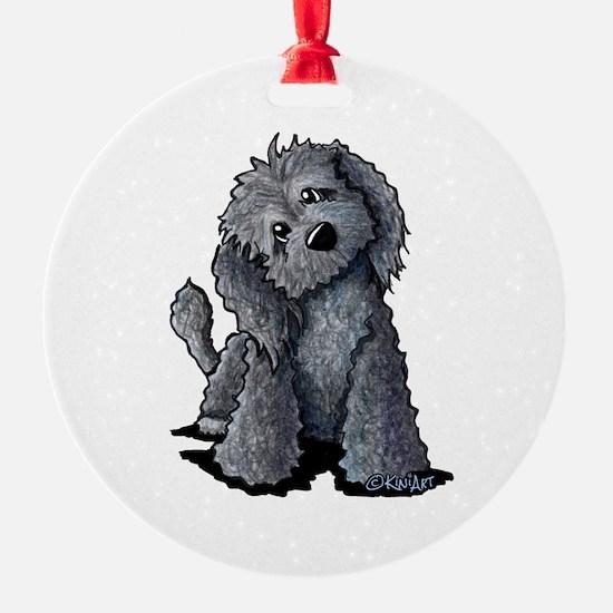 KiniArt Black Doodle Dog Ornament
