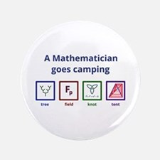 A Mathematician Goes Camping 3.5&Quot; Button (100