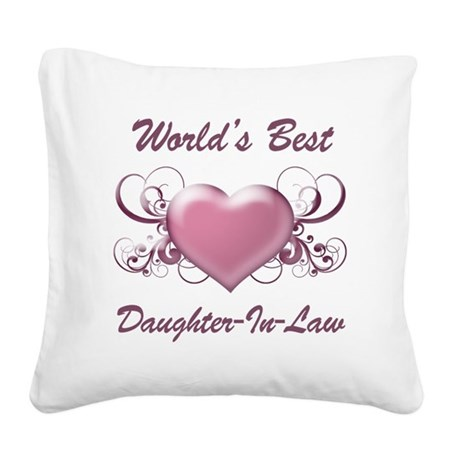 World's Best Daughter-In-Law (Heart) Square Canvas