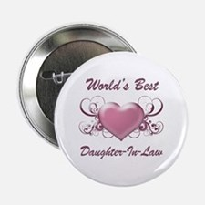 """World's Best Daughter-In-Law (Heart) 2.25"""" Button"""
