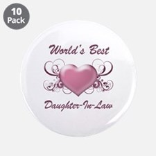 """World's Best Daughter-In-Law (Heart) 3.5"""" Button ("""