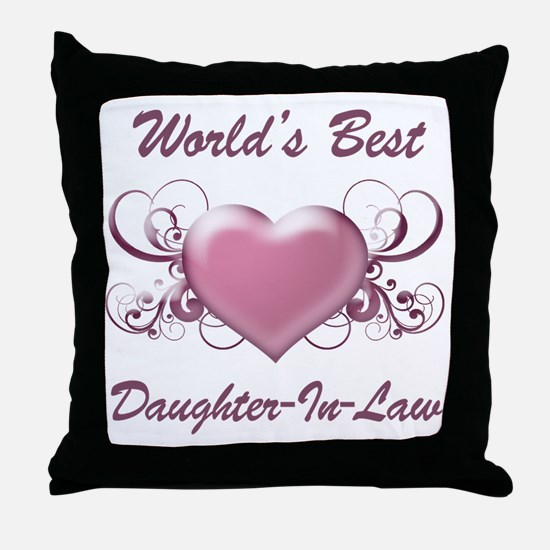 World's Best Daughter-In-Law (Heart) Throw Pillow