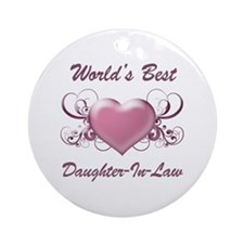 World's Best Daughter-In-Law (Heart) Ornament (Rou