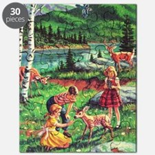 Retro Vintage Woodland Nature Children With Puzzle