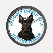 Proudly Owned by a Scottish Terrier Wall Clock