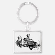 Dalmatians In A Fire Truck Keychains