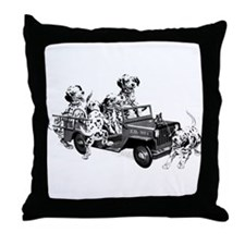 Dalmatians in a Fire truck Throw Pillow
