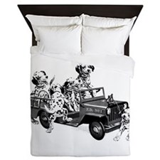 Dalmatians In A Fire Truck Queen Duvet