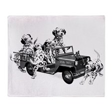 Dalmatians In A Fire Truck Throw Blanket