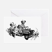 Dalmatians In A Fire Truck Greeting Cards