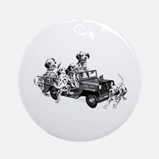 Dalmatians In A Fire Truck Ornament (Round)
