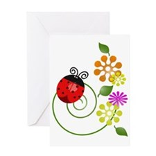 Cute Red Ladybug Icon With Flowers Greeting Card
