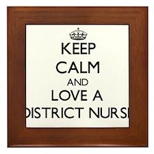 Keep Calm and Love a District Nurse Framed Tile