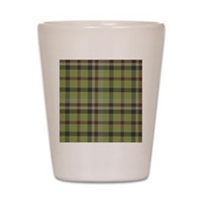 Olive Green Plaid Kilt Tartan Print Shot Glass