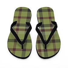 Olive Green Plaid Kilt Tartan Print Flip Flops