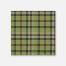 "Olive Green Plaid Kilt Tart Square Sticker 3"" x 3"""