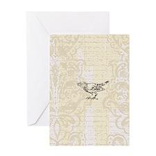 Little Bird On Cream Damask Greeting Card