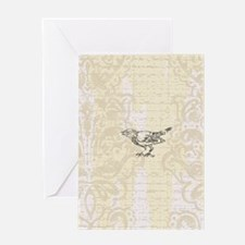 Little Bird On Cream Damask Greeting Card