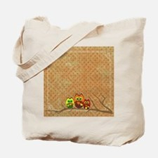 Cute Autumn Owls on a Forest Branch Tote Bag