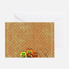 Cute Autumn Owls on a Forest Branch Greeting Card