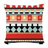 Geometric adobe turquoise and brown Throw Pillows